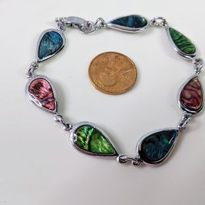 Jewelry - Natural Shell Rainbow Dyed Silver Tone Bracelet